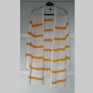White and Orange Lightweight  Long Cardigan XL